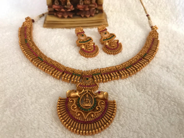 Gold Plated Laxmi Necklace Set with Red & Green Stones & Matching Earrings