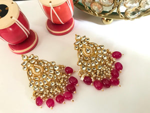 Gold Plated Kundan Earrings With Red Beads