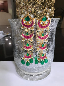 Long Kundan Earrings With Red & Green Stones & Green Beads