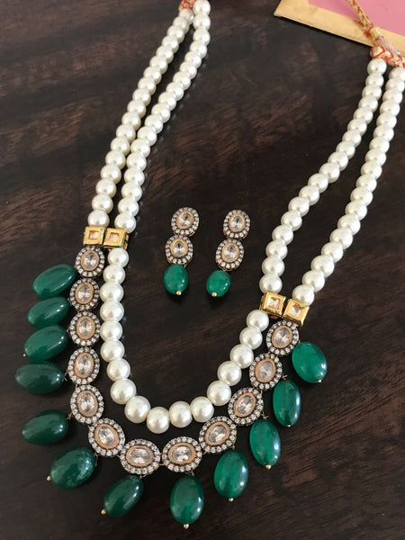 2 Layered White Pearl Mala with Deep Green Onyx Beads and Matching Earrings