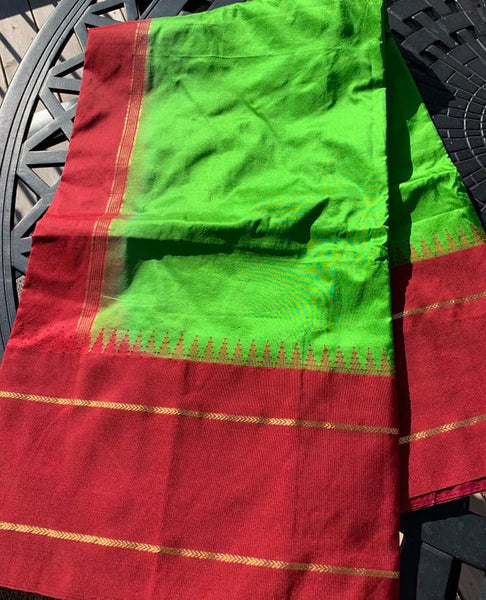 Green and Maroon Pure Silk Saree with Temple Border