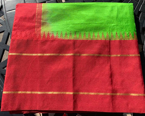 Kelly Green and Maroon Pure Silk Saree with Temple Border