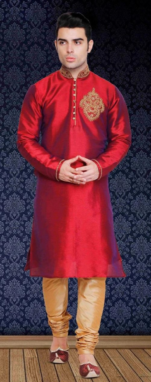 Red Pure Silk Mens Long Kurta Pajama Set