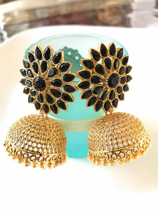 Black and Gold Colored Stone Studded Jhumka Earrings