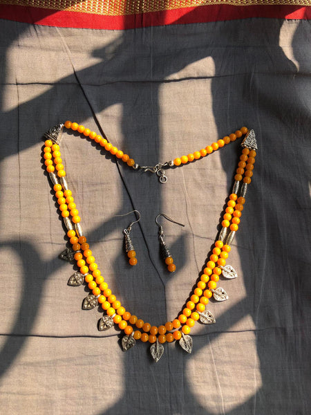 2 Layered Citric Orange & Silver Beaded Necklace with Earrings