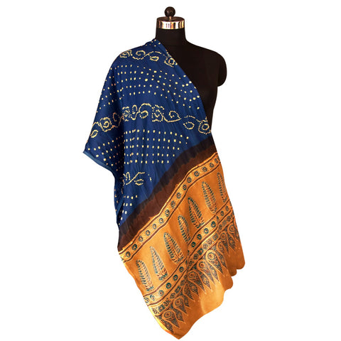 HandPrinted Electric Blue and Beige Bandhej and Ajrakh Dupatta