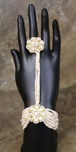 Kundan Pearl Hand Bracelet with Ring