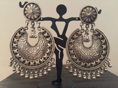 Pure 92.5 Sterling Silver Chandbali  Earrings