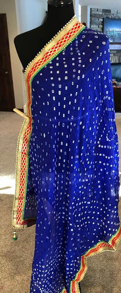 Deep Navy Blue with Contrast border Pure Silk Bandej Dupatta