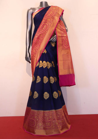 Navy Blue & Pink Handloom Silk Cotton Saree