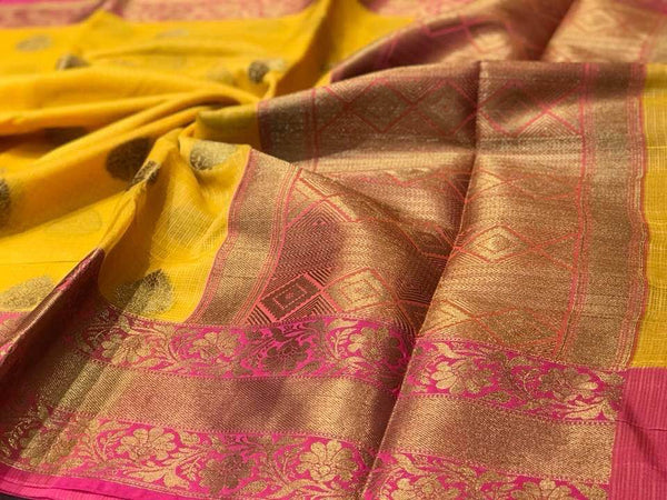 Handloom Silk Yellow Saree with Pink Border with Golden Butta all over