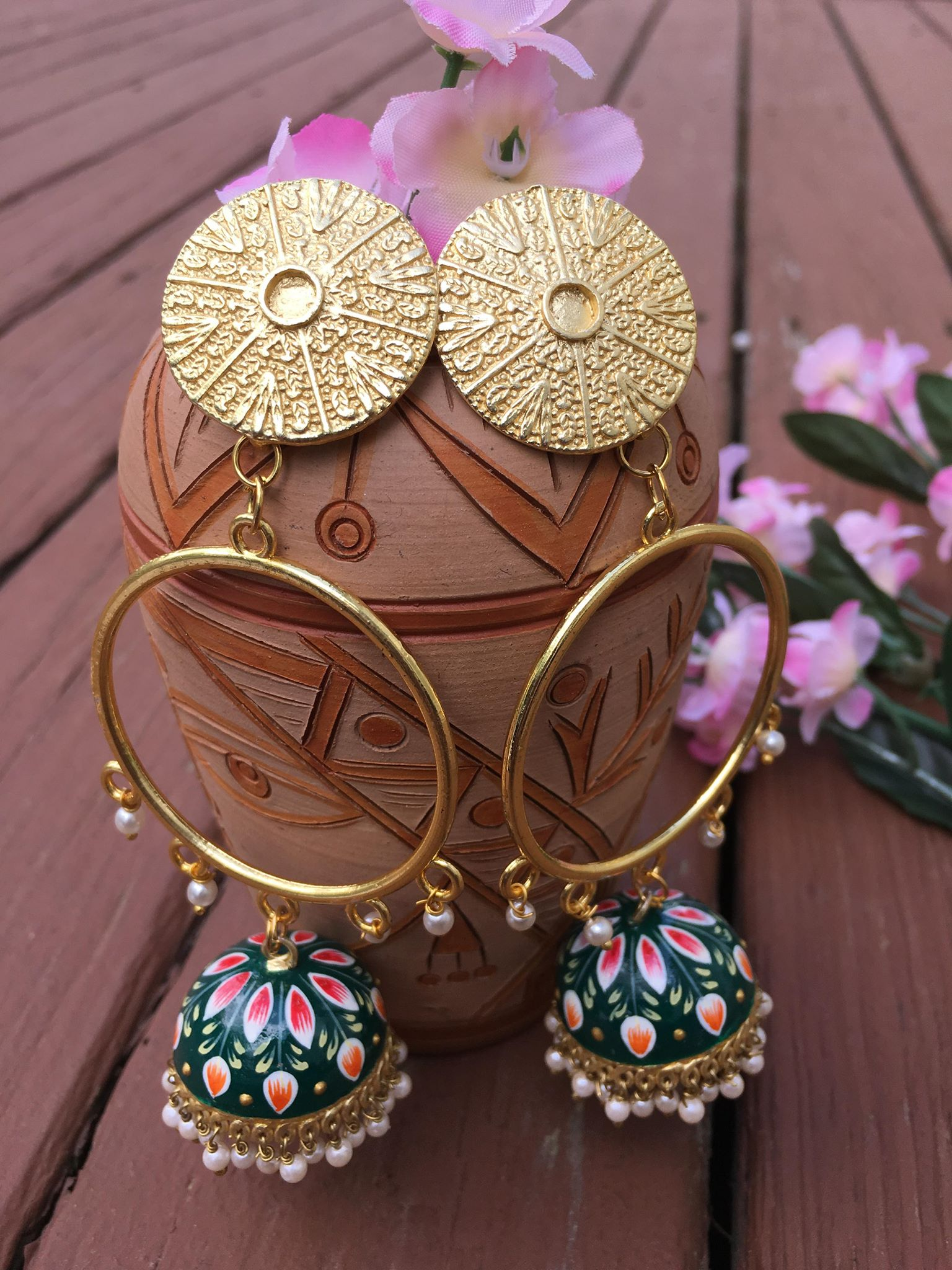 Beautiful Gold Plated Green Colored Hand Painted MeenaKari Earrings With White Pearls