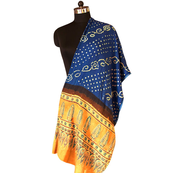 Beautiful Colour Combination Ajrakh Printed Saree with Blue Border