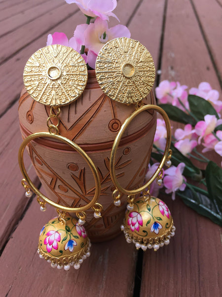 Beautiful Gold Plated Golden Yellow Colored Hand Painted MeenaKari Earrings with White Pearls