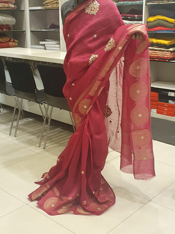 Pink Linen Saree with Gotapati Work