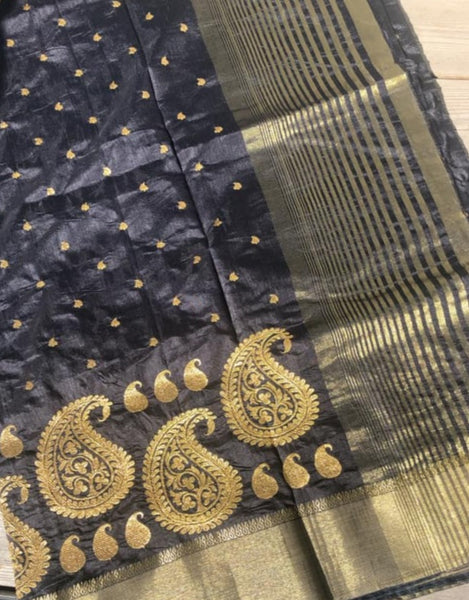 Black Raw Silk Saree with Golden Embroidered Butta's all over with Kalka design