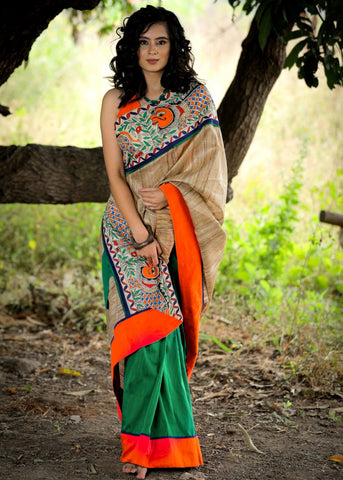 PURE RAW SILK & GREEN COTTON SILK COMBINATION SAREE WITH HAND PAINTED MADHUBANI BORDER