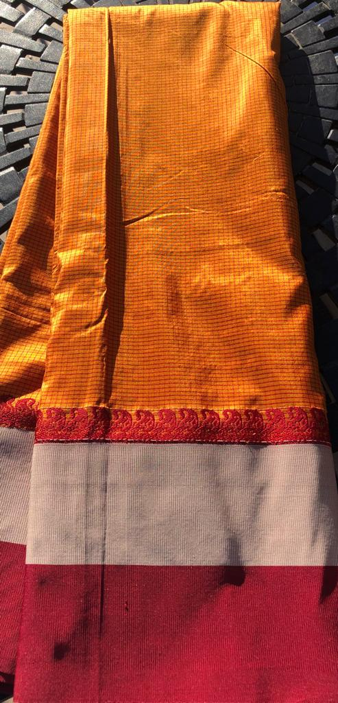 Soft Silk Saree in Orange and Maroon Color with Fabric Border