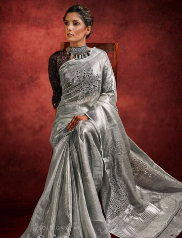 SILVER PURE LINEN CUTWORK SAREE WITH MIROR WORK