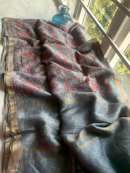 Grey Pure Handloom Silk Saree with all over Embroidery