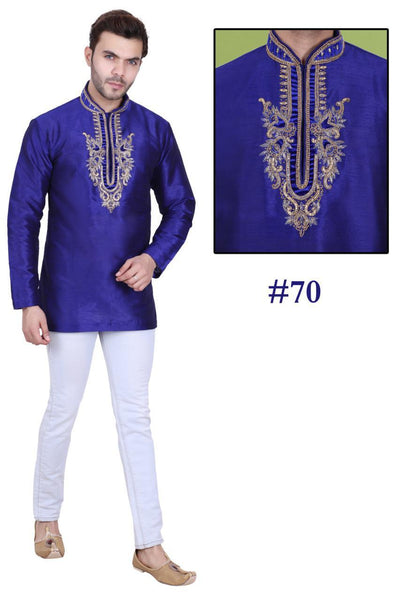 Deep Blue Colored Embroidered Art Raw Silk with Hand and Machine Work Mens Short Kurta