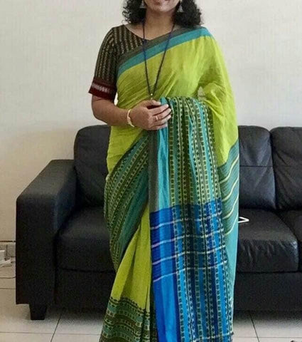 Bengali Pure Handloom Parrot Green and Blue