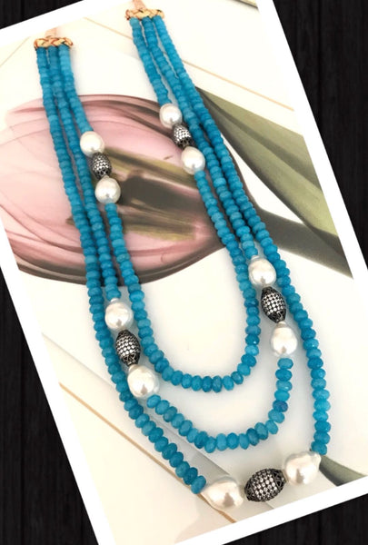 3 Layered Blue Beaded Necklace