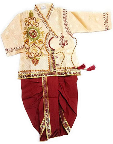 Baby Boy's Silk Cotton Blend Dhoti Kurta Pyjama Dress (Multicolour, 6-12 Months)