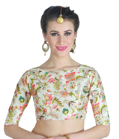Floral Printed Readymade Dupion Silk Blouse