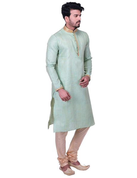 Manyavar Men's Pastel Green Kurta Pajama Set
