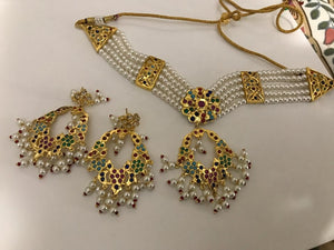 5 Layered Ahmdabadi Navaratan Kundan Pearl Choker Necklace Set with White Onyx Beads & Matching Earrings