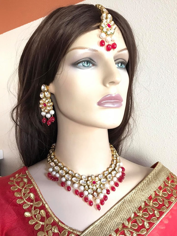 Gold Plated Choker Necklace Set with Jhumkas & Matching Jhumka Earrings & Mang Tika