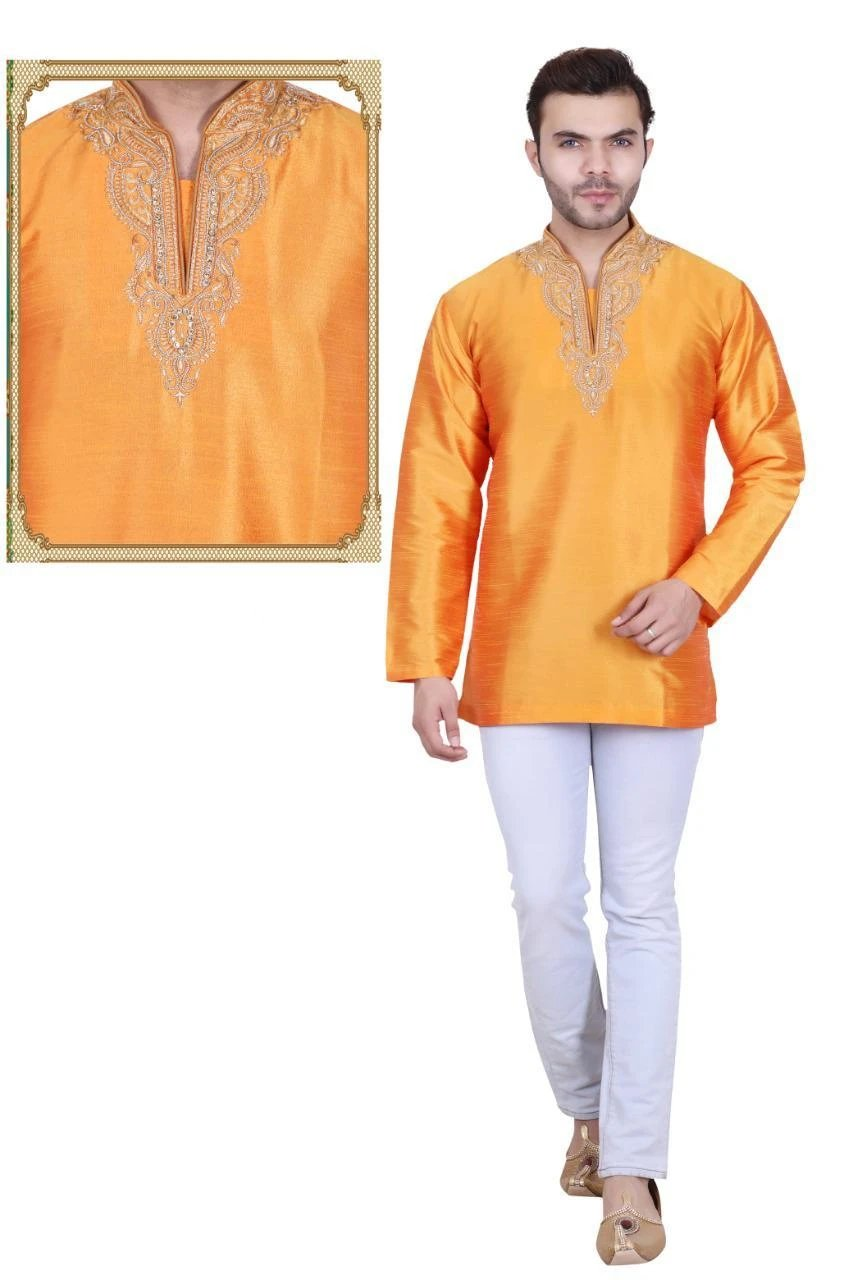 Mustard Yellow Colored Embroidered Art Raw Silk with Hand and Machine Work Mens Short Kurta