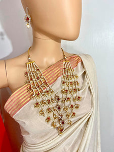Five Layered Pearl Kundan Necklace Set With Earrings