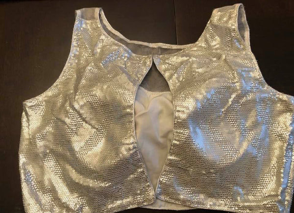 Silver Sleeveless Sequin Net Padded Blouse with Hook in the Back