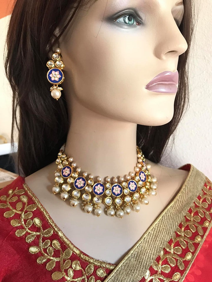 Gold Plated Choker Necklace Set with Meena Work & Earrings