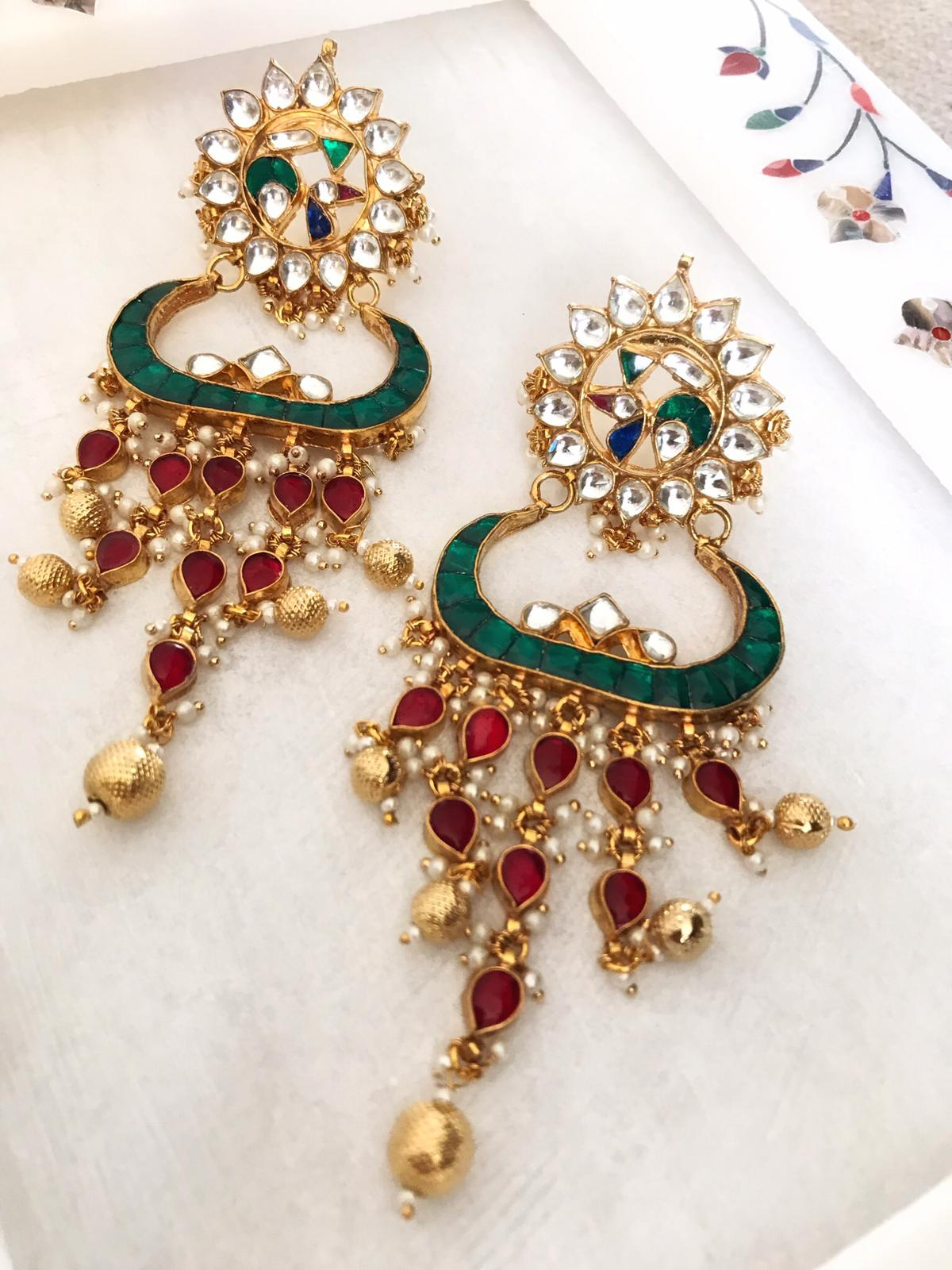Gold Plated Long Kundan Jhumka Earrings with Red, Green & Blue Stones