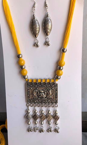 Yellow German Silver Threaded Necklace with Jhumka Earrings
