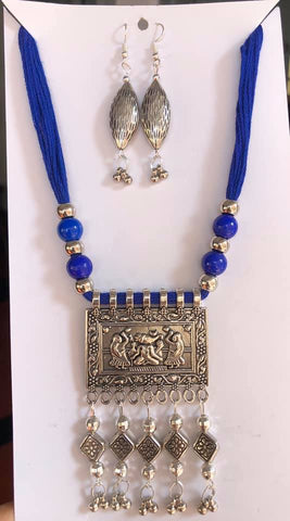 Navy Blue German Silver Threaded Necklace with Jhumka Earrings