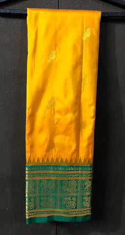 Golden Yellow Bangalore Silk Naali Saree with Green Golden Border and Aachal with Elephant and Peacock Border Design