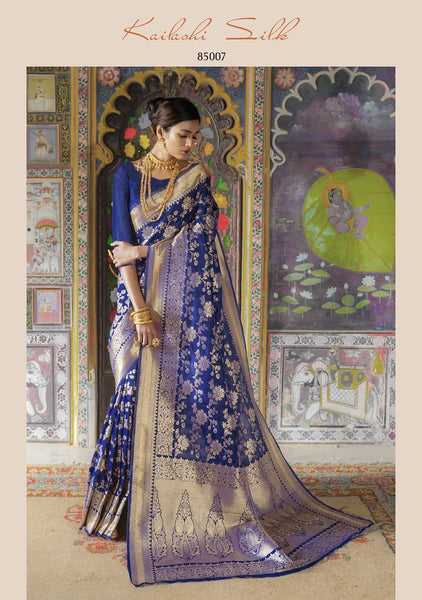 Navy Blue Colored Designer Silk Blend Saree