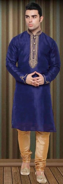 Dark Blue Pure Silk Mens Long Kurta Pajama Set