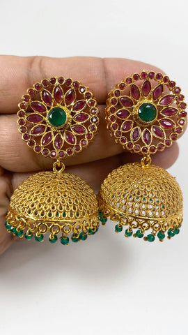 Red and Gold Colored Jhumka Earrings with Red & Green Stone