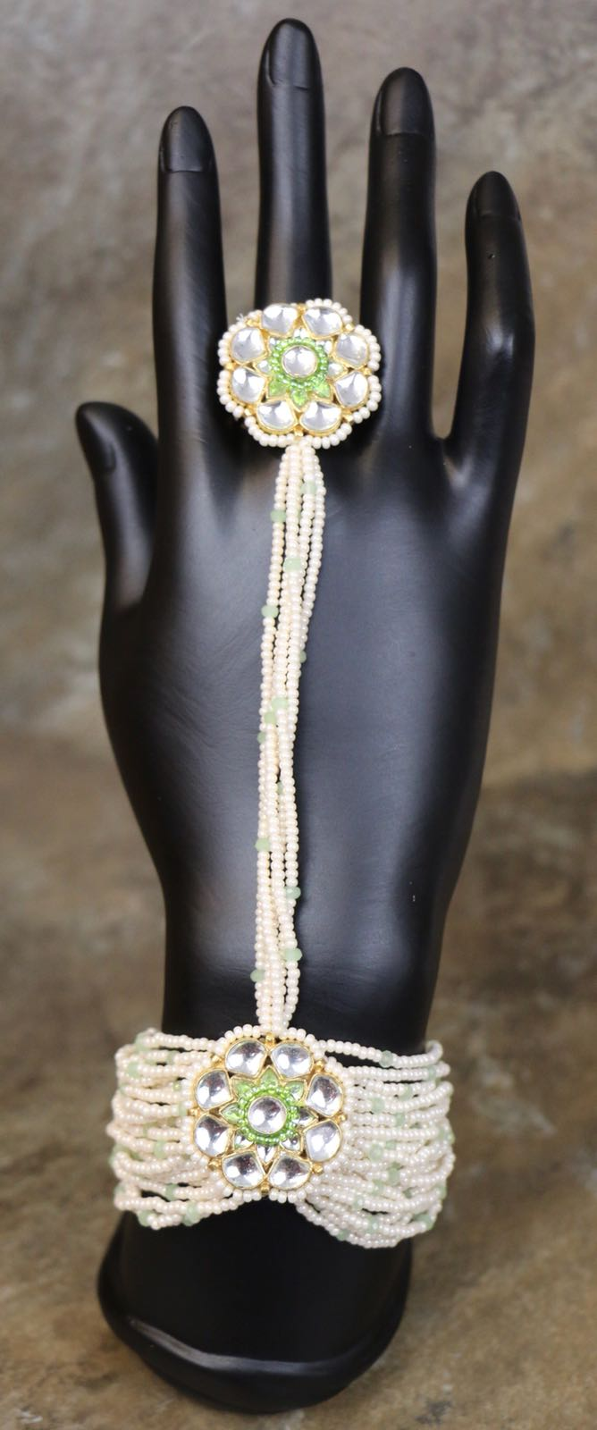 Kundan White & Green Colored Pearl Hand Bracelet with Ring