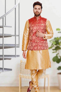 Mens Golden Color Silk Kurta Pajama With Red Color Printed Modi Jacket