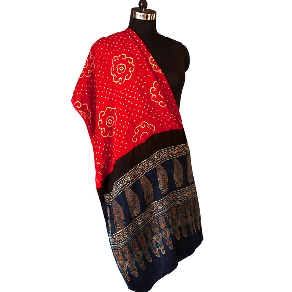 Handprinted Crimson Red and Black Bandhej and Ajrakh Dupatta