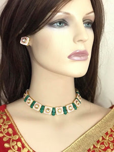 Single Line Antique Green & Gold Choker Necklace Set with Matching Earrings