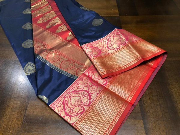 Blue Soft Banarasi Pattu Katan Sarees with all over Zari weaves with Pink and Red Border