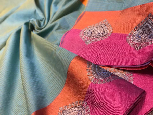 Blue Maheshwari Soft Silk Saree with Woven Resham Border