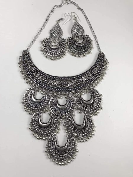 Silver Color Long Afghani Necklace Set with Matching Earrings